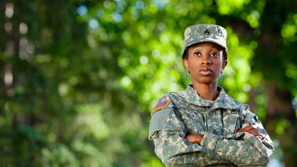 A veteran and a woman talking