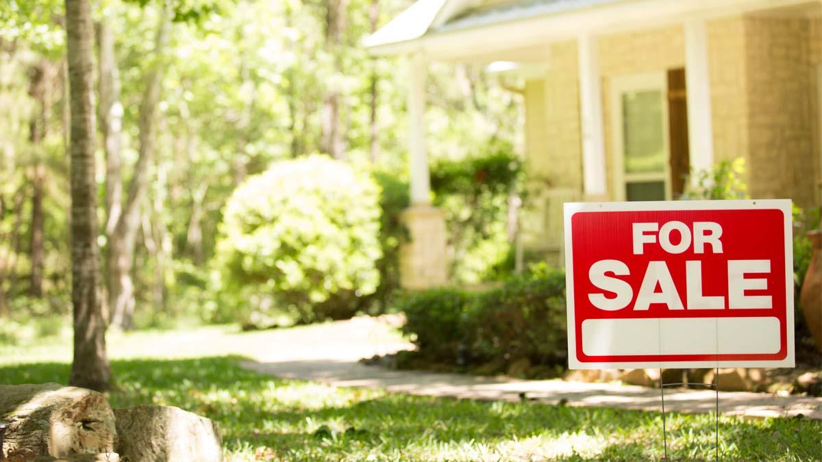 A 'for sale' sign sits in front of a house