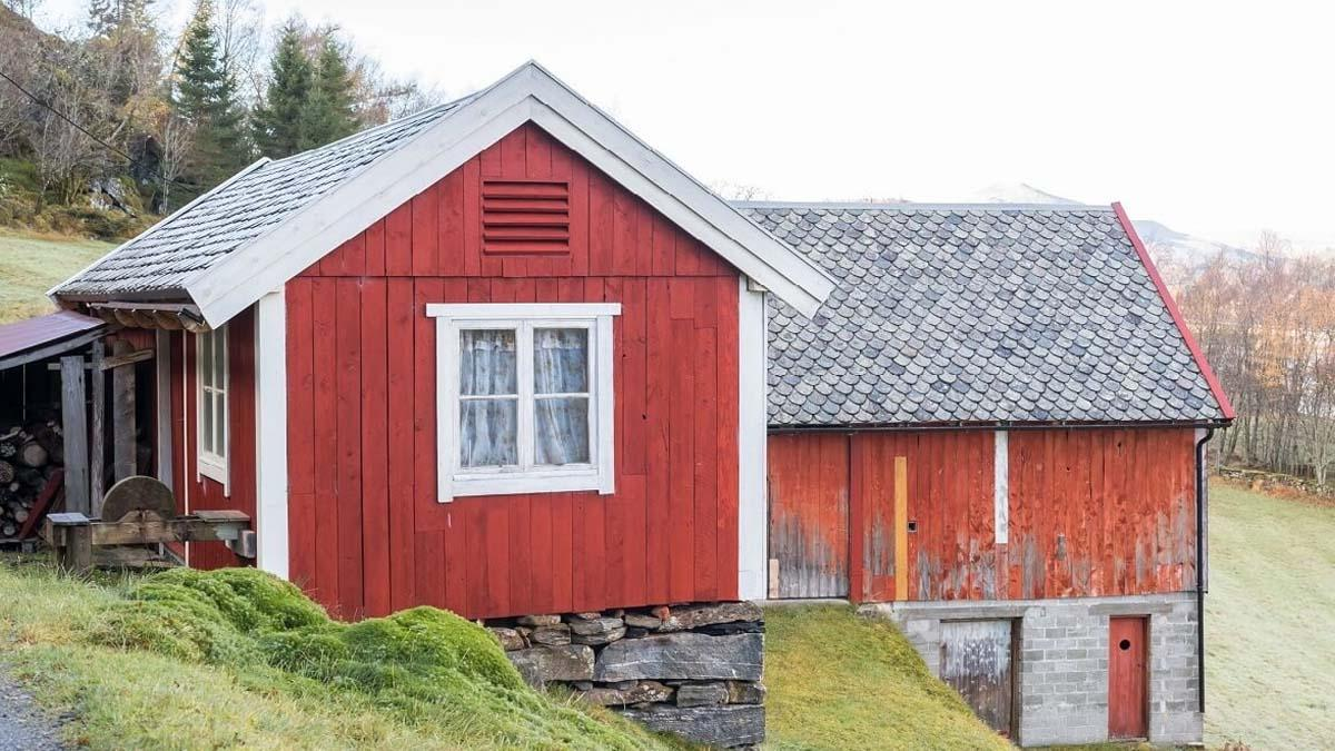 An old red farmhouse