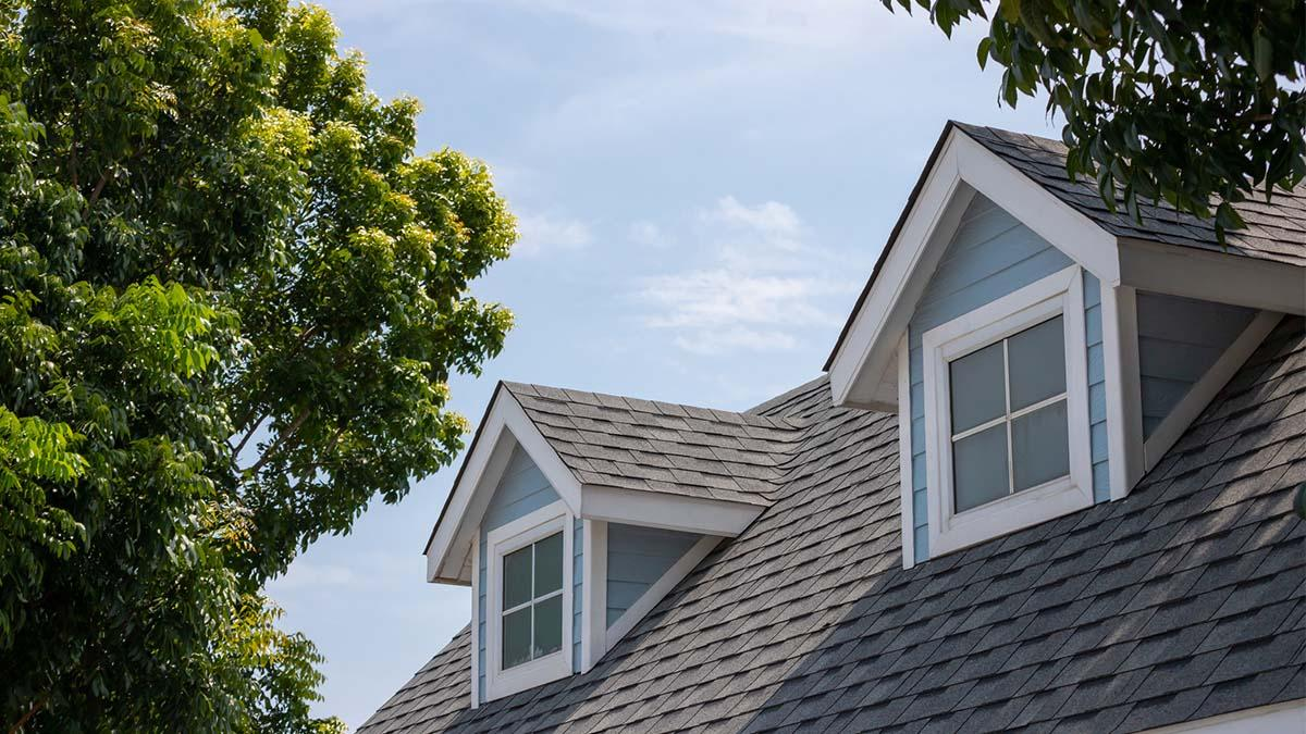Gray shingles on the roof of a house
