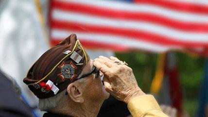 A senior veteran salutes the American Flag