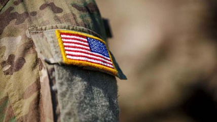 Military uniform with American flag arm patch